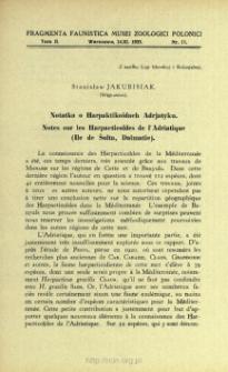 Notes sur les Harpacticoïdes de l'Adriatique (Ile de Šolta, Dalmatie) = Notatka o Harpaktikoidach Adrjatyku