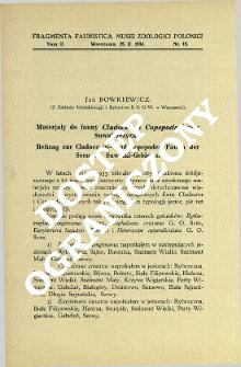 Materjały do fauny Cladocera i Copepoda jezior Suwalszczyzny = Beitrag zur Cladoceren- und Copepoden-Fauna der Seen des Suwałki-Gebietes