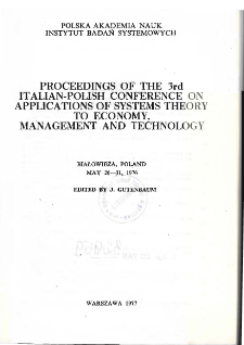 Proceedings of the 3rd Italian-Polish conference on applications of systems theory to economy, management and technology: Białowieża, Poland, May 26-31, 1976 * Technological management and information systems * Organization aspects of the system of forecating the level of fulfillment of economic plans