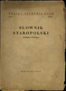 Słownik staropolski. T. 1 z. 6, (Czeluść-Ćwirtnia)