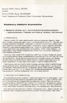"Roztwory ciekłych kryształów = Solutions of the liquid crystals. 1. The The investigation of the 4,4""-dihexylaxyazoxybenzene-azoxybenzen system by the differential thermal analysis"