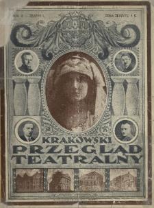 Krakowski Przegląd Teatralny : tygodnik art.-literacki dla spraw teatru, literat. dram. i sztuki 1920 N.1
