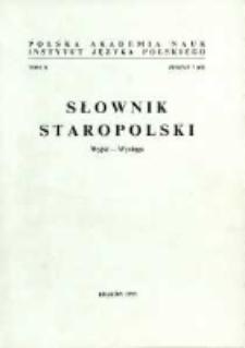 Słownik staropolski. T. 10 z. 7 (67), (Wyjść-Wysługa)