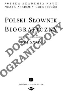 Polski słownik biograficzny T. 39 (1999-2000), Słomkiewicz Stefan - Soczek Zygmunt, Część wstępna