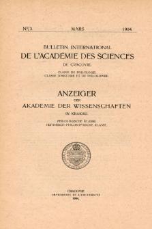 Anzeiger der Akademie der Wissenschaften in Krakau, Philologische Klasse, Historisch-Philosophische Klasse. No. 3 Mars (1904)