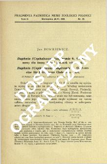 Daphnia (Cephaloxus) longiremis G. O. Sars nowy dla fauny Polski gatunek wioślarek = Daphnia (Cephaloxus) longiremis G. O. Sars eine für Polen neue Cladoceren - Art.