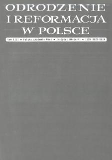 Odrodzenie i Reformacja w Polsce T. 53 (2009), Strony tytułowe, Spis treści