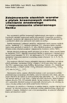 Zdejmowanie cienkich warstw z płytek krzemowych metodą utleniania anodowego i rozpuszczania utworzonego tlenku = Removal of thin layers from silicon wafersby means of an anodic oxidation and dissolution of the oxides formed