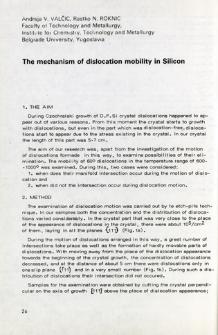 The mechanism of dislocation mobility in silicon = Mechanizm ruchu dyslokacji w krzemie
