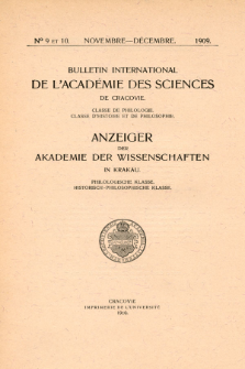 Anzeiger der Akademie der Wissenschaften in Krakau, Philologische Klasse, Historisch-Philosophische Klasse