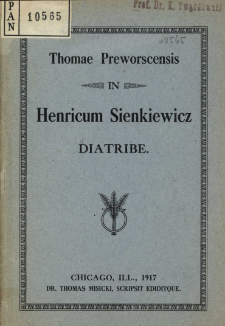 Thomae preworscensis in Henricum Sienkiewicz diatribe