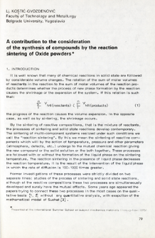 A constribution to the sonsideration of the synthesis of compounds by the reaction sintering of Oxide powders