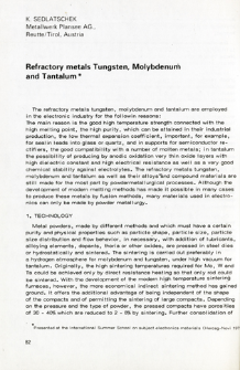 Refractory metals Tungsten, Molybdenum and Tantalum = Trudnotopliwqe metale: wolfram, molibden i tantal