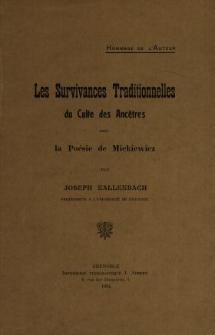 Les survivances traditionnelles du culte des ancêtres dans la poésie de Mickiewicz