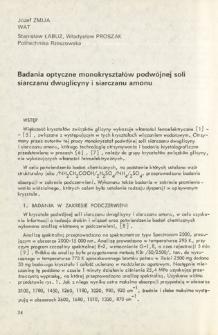 Badania optyczne monokryształów podwójnej soli siarczanu dwuglicyny i siarczanu amonu