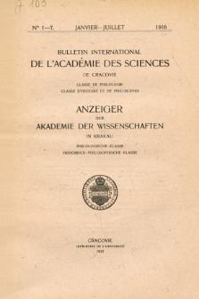 Anzeiger der Akademie der Wissenschaften in Krakau, Philologische Klasse, Historisch-Philosophische Klasse. No. 1-7 Janvier-Juillet (1916)
