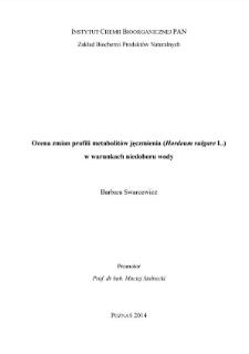 Ocena zmian profili metabolitów jęczmienia (Hordeum vulgare L.) w warunkach niedoboru wody