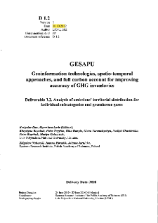 Analysis of Emissions' Territorial Distribution for Individual Subcategories and Greenhouse Gases.Deliverable 1.2 * Analysis of emissions' territorial distribution for individual subcategories and greenhouse gases from industry and agriculture