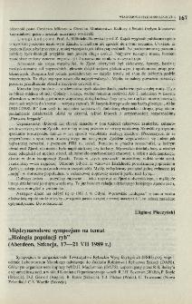 """Międzynarodowe sympozjum na temat """"Biologia populacji ryb"""" (Aberdeen, Szkocja, 17-21 VII 1989 r.)"""