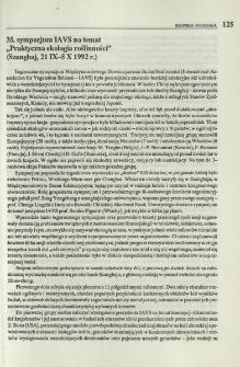 """35. sympozjum IAVS na temat """"Praktyczna ekologia roślinności"""" (Szanghaj, 21 IX-5 X 1992 r.)"""