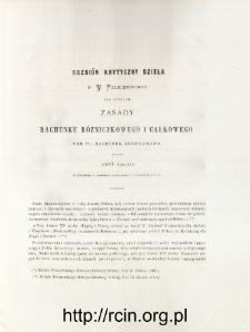 Rozbiór krytyczny dzieła p. W. Folkierskiego pod tytułem Zasady Rachunku Różniczkowego i Całkowego, Tom Iszy, Rachunek Różniczkowy