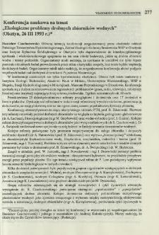 """Konferencja naukowa na temat """"Ekologiczne problemy drobnych zbiorników wodnych"""" (Olsztyn, 26 III 1993 r.)"""