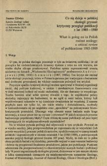 Co się dzieje w polskiej ekologii gryzoni: krytyczny przegląd publikacji z lat 1985-1989