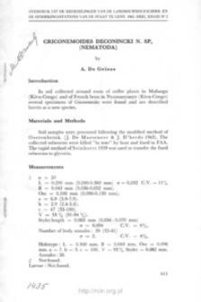 Criconemoides deconincki n. sp, (Nematoda)