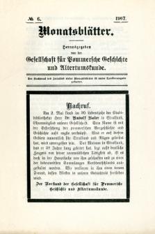 Monatsblätter Jhrg. 21, H. 6 (1907)