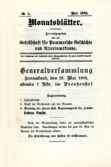 Monatsblätter Jhrg. 22, H. 5 (1908)