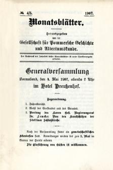 Monatsblätter Jhrg. 21, H. 4/5 (1907)