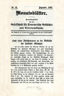 Monatsblätter Jhrg. 22, H. 12 (1908)