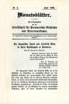 Monatsblätter Jhrg. 23, H. 6 (1909)