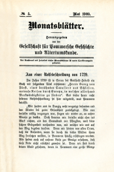 Monatsblätter Jhrg. 23, H. 5 (1909)