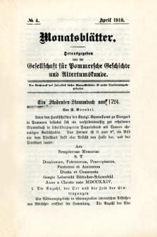 Monatsblätter Jhrg. 24, H. 4 (1910)