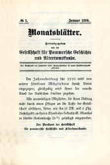 Monatsblätter Jhrg. 24, H. 1 (1910)