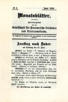 Monatsblätter Jhrg. 24, H. 6 (1910)