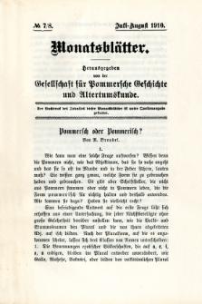 Monatsblätter Jhrg. 24, H. 7/8 (1910)