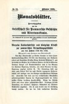 Monatsblätter Jhrg. 24, H. 10 (1910)