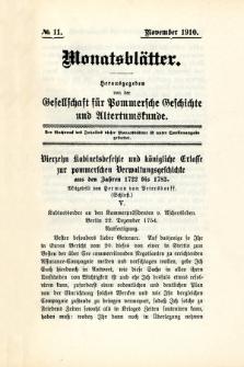 Monatsblätter Jhrg. 24, H. 11 (1910)