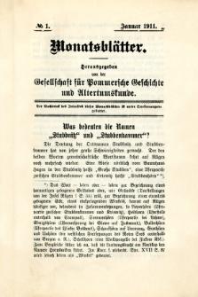 Monatsblätter Jhrg. 25, H. 1 (1911)
