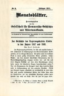 Monatsblätter Jhrg. 25, H. 2 (1911)