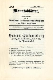 Monatsblätter Jhrg. 25, H. 5 (1911)