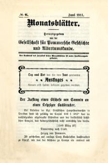 Monatsblätter Jhrg. 25, H. 6 (1911)