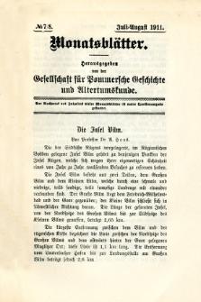 Monatsblätter Jhrg. 25, H. 7/8 (1911)