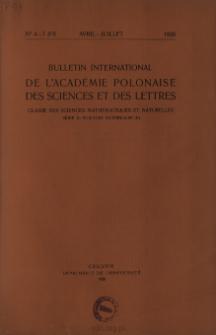 Bulletin International de L'Académie Polonaise des Sciences et des Lettres. Classe des Sciences Mathématiques et Naturelles. Serie B: Sciences Naturelles (II), 1938, No 4-7