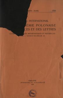 Bulletin International de L'Académie Polonaise des Sciences et des Lettres. Classe des Sciences Mathématiques et Naturelles. Serie B: Sciences Naturelles (II), 1939, No 1-4