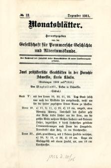 Monatsblätter Jhrg. 25, H. 12 (1911)