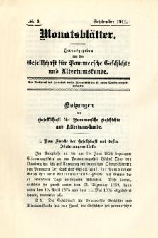 Monatsblätter Jhrg. 25, H. 9 (1911)