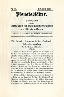 Monatsblätter Jhrg. 25, H. 11 (1911)